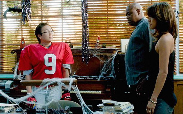 Oct. 31: Dr. Max Bergman (Masi Oka) as a football player with Lou Grover (Chi McBride) and Kono Kalakaua (Grace Park), Hawaii Five-0