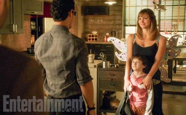 Oct. 27: Walter O'Brien (Elyes Gabel, back turned), Ralph Dineen (Riley B. Smith), and Paige Dineen (Katharine McPhee), Scorpion