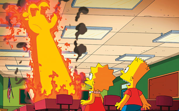 Treehouse of Horror XXV , 2014 Bart and Lisa get sucked into the underworld, only to find that Hell looks a lot like Springfield Elementary…