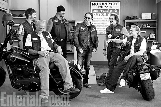 It's the laughter between takes that Flanagan (center, pictured with Nicotera, David Labrava, Rusty Coones, Coates, and Hunnam) will remember most. ''There's so much madness…