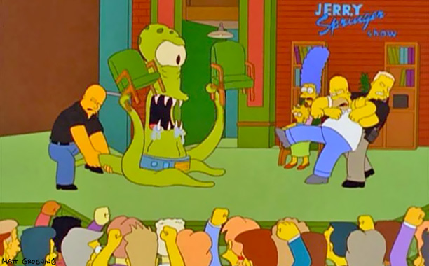 The Simpsons | Treehouse of Horror IX , 1998 In which we learn that Maggie's real father is Kang, the fanged alien who (along with his ''sister,'' Kodos)…