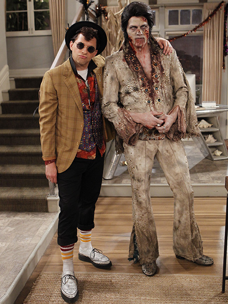 Oct. 30: Alan (Jon Cryer) as Duckie from Pretty in Pink with Walden (Ashton Kutcher) as Zombie Elvis, Two and a Half Men