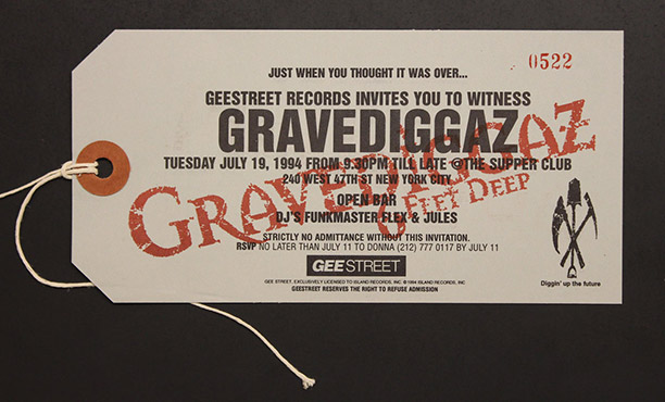 Gravediggaz promote a show in typically morbid fashion with an invite designed to look like a toe tag.