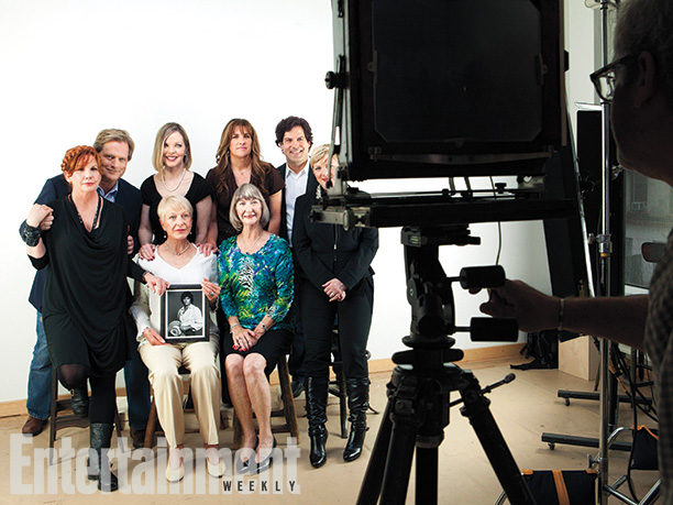 Standing, from left: Melissa Gilbert, Dean Butler, Melissa Sue Anderson, Rachel Lindsay, Mathew Labyorteaux, and Alison Arngrim; seated: Karen Grassle (holding a picture of Michael Landon) and Charlotte Stewart, Little House on the Prairie