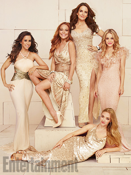 Lacey Chabert, Lindsay Lohan, Tina Fey, Rachel McAdams, and Amanda Seyfried (lying down), Mean Girls