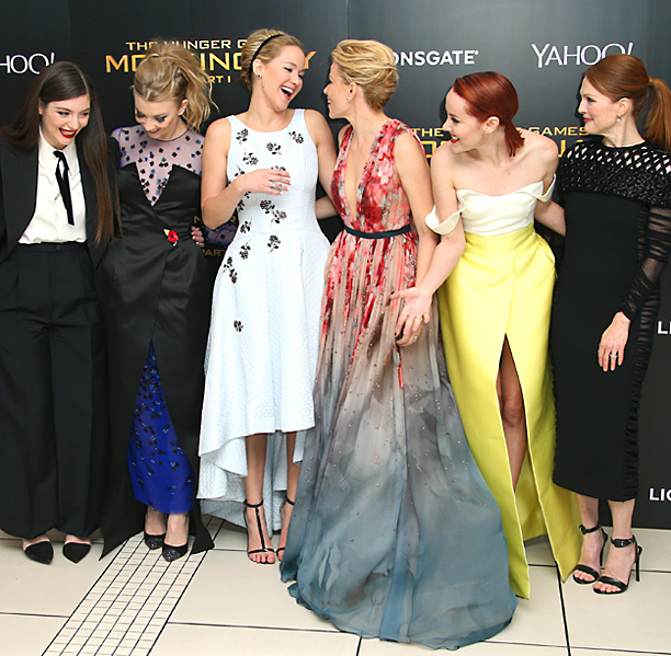 Lorde, Natalie Dormer, Jennifer Lawrence, Elizabeth Banks, Jena Malone, and Julianne Moore