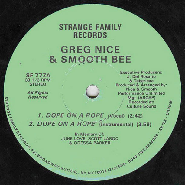 The first single by Greg Nice and Smooth Bee, who'd later go by the shorter and snappier name Nice & Smooth. Smooth got his break…