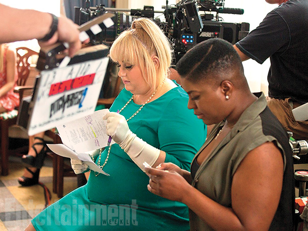 Rebel Wilson and Ester Dean between scenes