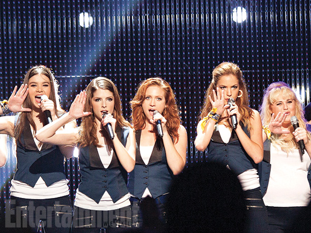 Emily (Hailee Steinfeld), Beca (Anna Kendrick), Chloe (Brittany Snow), Stacie (Alexis Knapp), and Fat Amy (Rebel Wilson)