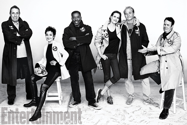 Ivan Reitman, Annie Potts, Ernie Hudson, Sigourney Weaver, Bill Murray, and Dan Aykroyd, Ghostbusters