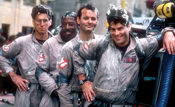 Harold Ramis, Ernie Hudson, Bill Murray, and Dan Aykroyd, Ghostbusters