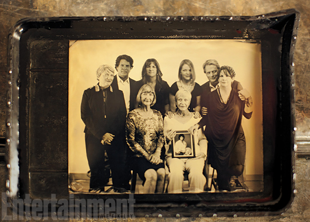 Standing, from left: Alison Arngrim, Mathew Labyorteaux, Rachel Lindsay, Melisssa Sue Anderson, Dean Butler, Melissa Gilbert; sitting: Charlotte Stewart and Karen Grassle (holding a picture of Michael Landon), Little House on the Prairie