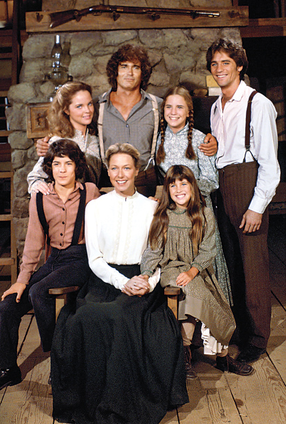 Back row, left to right: Melissa Sue Anderson, Michael Landon, Melissa Gilbert, Dean Butler; front row: Jonathan Gilbert, Karen Grassle, Lindsay or Sydney Greenbush, Little House on the Prairie