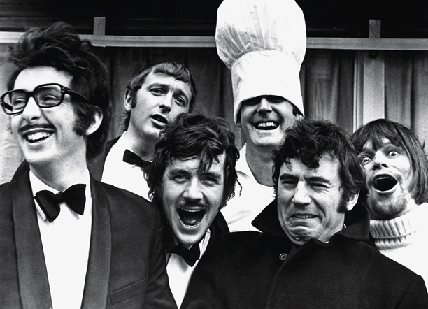 Eric Idle, Graham Chapman, Michael Palin, John Cleese, Terry Jones, and Terry Gilliam of Monty Python