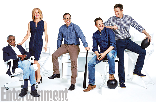 Robert Guillaume, Felicity Huffman, Joshua Malina, Josh Charles, and Peter Krause, Sports Night