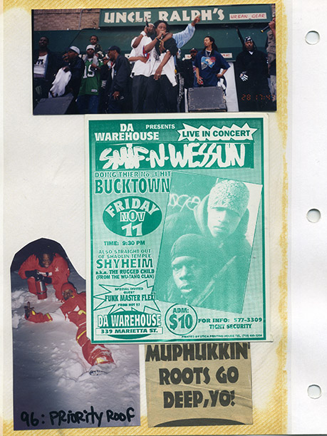 A page out of a scrapbook owned by Steele from the duo Smif-N-Wessun. The pair (Steele and Tek) were a throwback: ''[N]o dance songs; [...]…