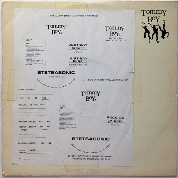 The test pressing of Stetsasonic's ''Just Say Stet.''