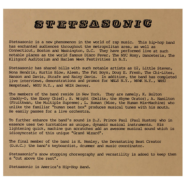 A label bio sheet for Stetsasonic, ''America's Hip-Hop Band.''