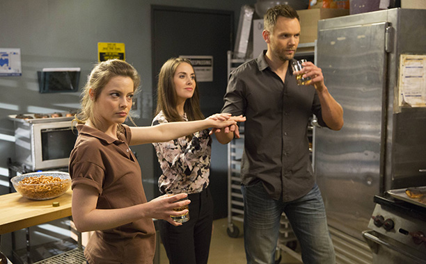 Gillian Jacobs, Alison Brie, and Joel McHale in Community