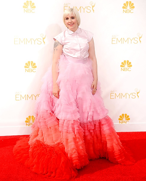 Primetime Emmy Awards 2014 | What's pink, frothy and sickly sweet? This dress worn by anti-pants Girls actress/creator Lena Dunham, whose layers of ombre Giambattista Valli tulle looked decidedly cake-like.