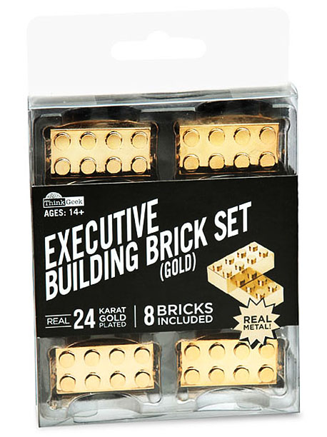 The Executive Building Brick set is the perfect workplace distraction for the grown-up gamer ($20, thinkgeek.com ).