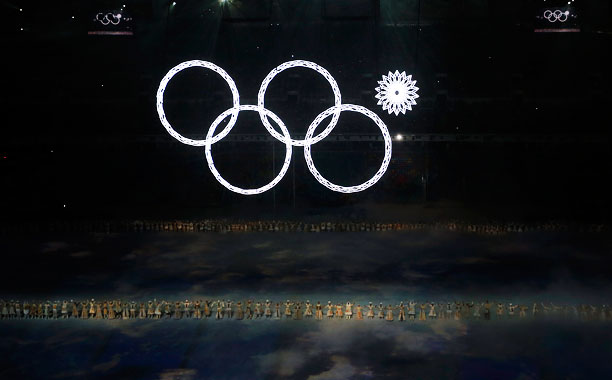 Winter Olympics 2014 | The Olympic ring on the far right just had to be a special snowflake.