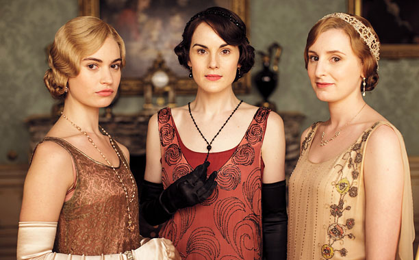 DOWNTON ABBEY Lily James, Michelle Dockery, and Laura Carmichael
