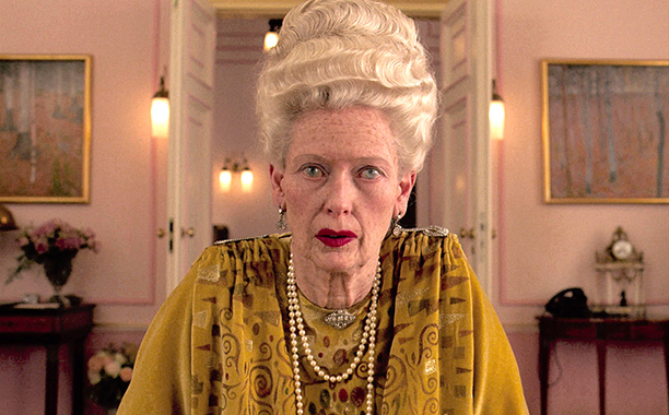 The Grand Budapest Hotel | Tilda Swinton underwent hours in the makeup chair to play an 84-year-old dowager. ''We're not usually working with a vast, Bruckheimer-type budget on my films,…