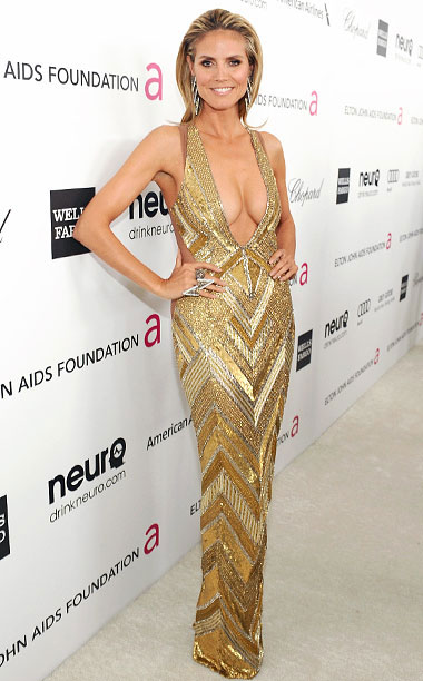 Style | The gown Klum donned for Elton John's viewing party in 2013 probably would've been better at the Golden Globes, don't you think? — Lanford Beard