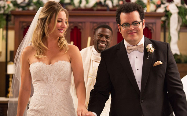 THE WEDDING RINGER Kaley Cuoco-Sweeting, Kevin Hart, and Josh Gad