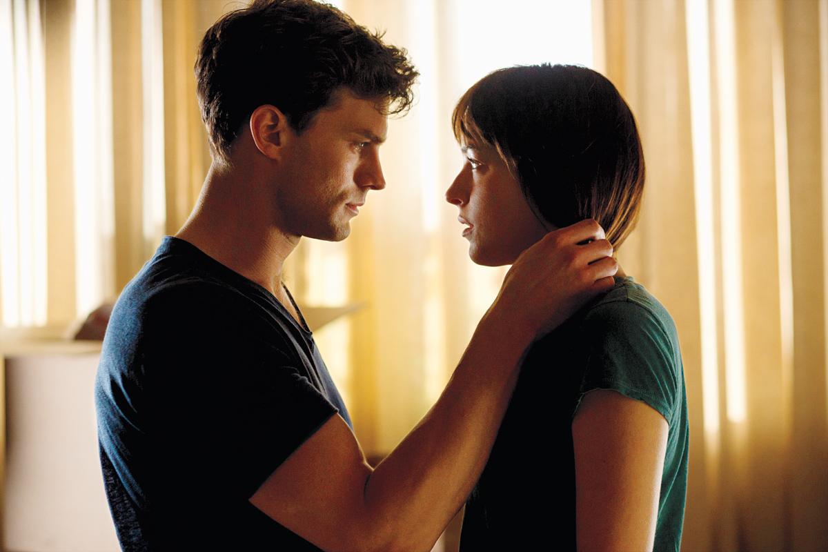 Jamie Dornan and Dakota Johnson in Fifty Shades of Grey