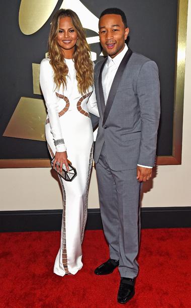 Chrissy Teigen in Gucci and John Legend Dolce & Gabbana