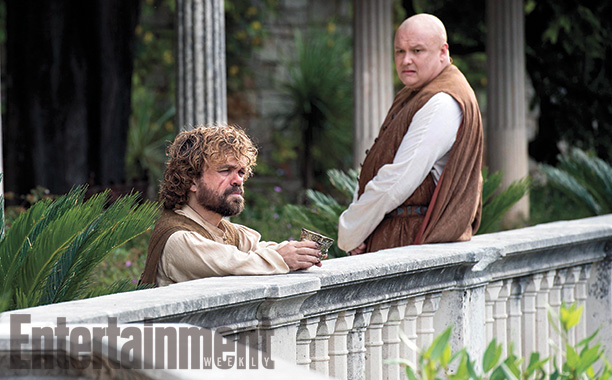 Tyrion (Peter Dinklage) discusses his future with Varys (Conleth Hill) in Pentos