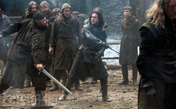 Jon Snow (Kit Harington) spars at Castle Black