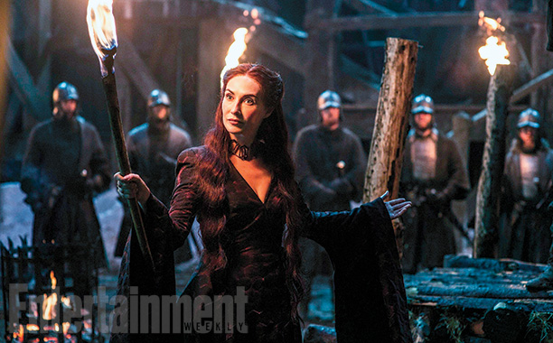 Melisandre (Carice van Houten) holds court at Castle Black