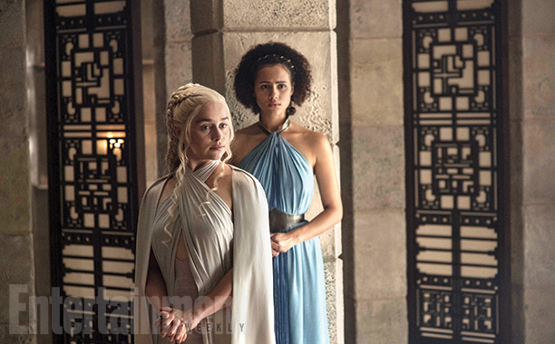 Emilia Clarke as Daenerys and Nathalie Emmanuel as Missandei in Meereen