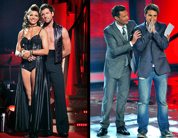 """""""Dancing with the Stars"""" and """"American Idol"""" results shows (DWTS: ABC, 2005-2013; AI: Fox, 2002-2015)"""