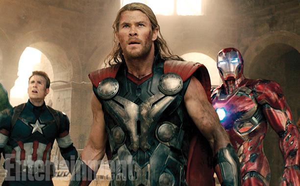 Chris Evans, Chris Hemsworth, and Robert Downey Jr.