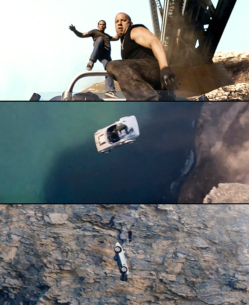 Jumping from one car traveling 120 mph to another car traveling 120 mph? Amateur stuff. Jumping a car off a 400-foot cliff at that speed…