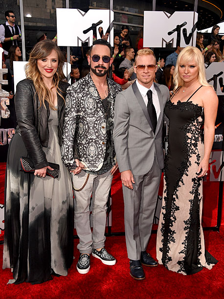 Rochelle Deanna Karidis, A.J. McLean and Brian Littrell of the Backstreet Boys, and Leighanne Littrell