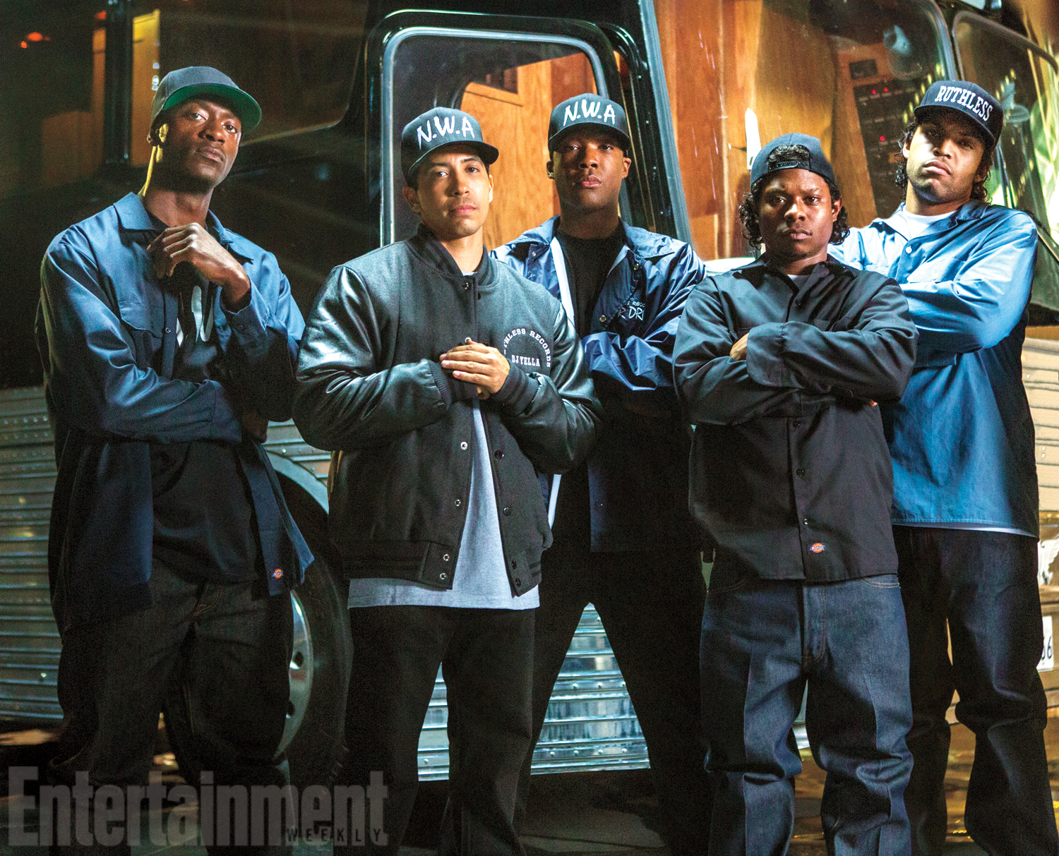 Aldis Hodge, Neil Brown Jr., Corey Hawkins, Jason Mitchell, and O'Shea Jackson in Straight Outta Compton