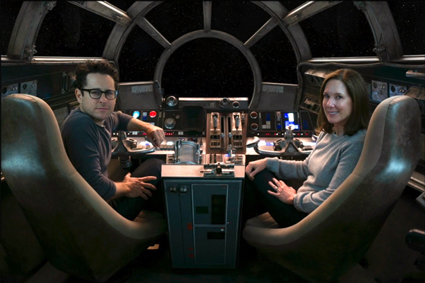 J.J. Abrams and Lucasfilm president Kathleen Kennedy in the Millennium Falcon, before they make the jump to hyperspace