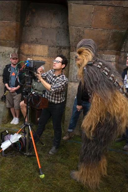 J.J. Abrams with Chewbacca (Peter Mayhew)