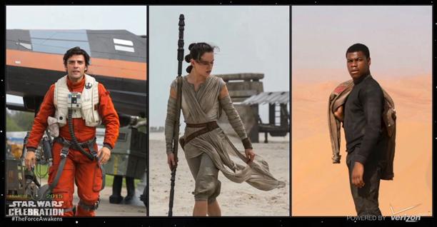 Poe Dameron (Oscar Isaac), Rey (Daisy Ridley), and Finn (John Boyega)