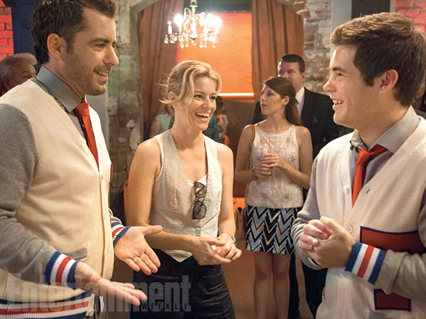 Jason Jones and Elizabeth Banks on set with Adam DeVine