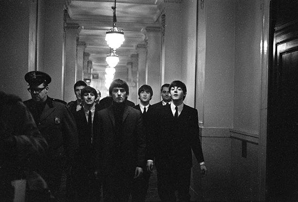 The Beatles at the Plaza for a press conference, February 1964