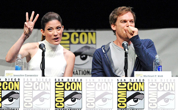 San Diego Comic-Con 2013, Dexter, ... | Jennifer Carpenter throws three in the air alongside Michael C. Hall at Showtime's Dexter panel