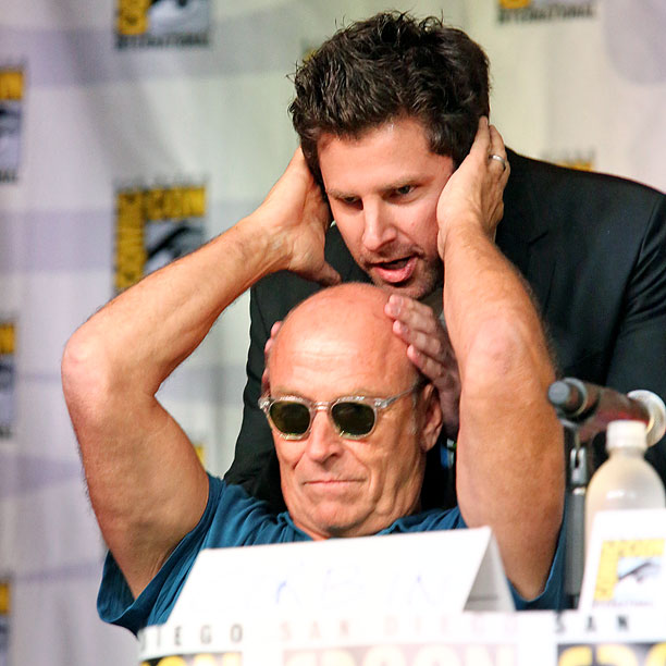 San Diego Comic-Con 2013 | Corbin Bernsen and James Roday horse around during the Psych panel