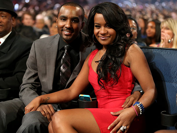 Oct. 12: Nick Gordon and Bobbi Kristina Brown at Grammy salute to her mother, Whitney Houston, in L.A. (photo taken on Oct. 11)