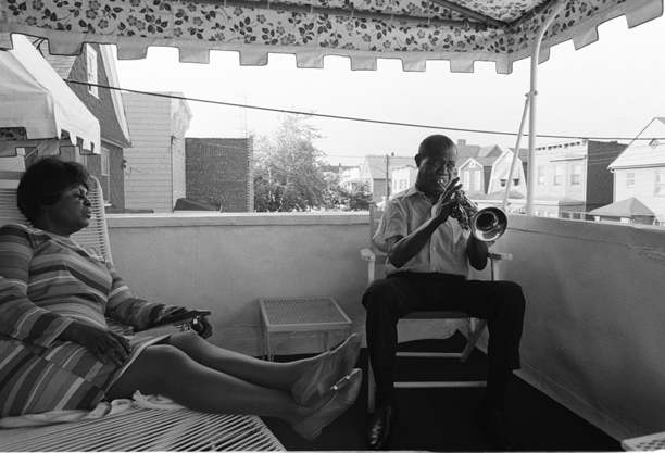 Louis Armstrong at home with wife Lucille Wilson, 1969